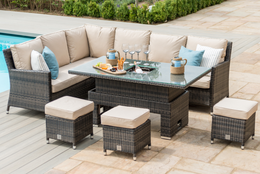 Barcelona Corner Dining Set With Rising Table And Ice Bucket
