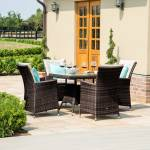 L.A. 4 Seat Square Dining Set- Grey/ Brown