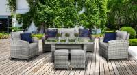 Arlington 3 Seat Sofa Dining Set With High Table- Grey