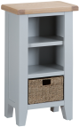Pippa Painted Narrow Bookcase With Lime- Washed Oak Top- Grey