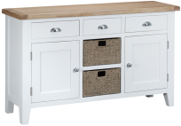 Pippa Painted Large Sideboard With Lime- Washed Oak Top- White