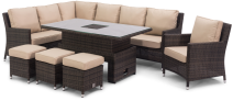 Barcelona Corner Sofa Dining Set And Armchair With Rising Table And Ice Bucket