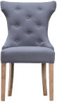 Winged Button Back Chair With Metal Ring- Grey