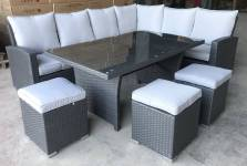 Madrid Corner Dining Set With High Table- Grey
