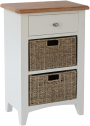 Rosie Painted Oak 1 Drawer Unit With 2 Wicker Baskets- White