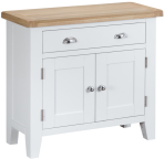 Pippa Painted Small Sideboard With Lime Washed Oak Top- White
