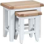 Pippa Painted Nest Of 2 Tables With Lime- Washed Oak Top- White