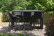 Regal 6 Seater Rectangular Bar Set- Charcoal