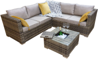 Manhattan Compact Corner Sofa Set With Ice Bucket Grey/ Brown