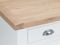 Pippa Grey/ White Painted 4 Door Sideboard With Lime- Washed Oak Top