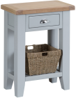 Pippa Painted Telephone Table And Basket With Lime- Washed Oak Top- Grey