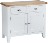 Pippa Painted 2 Door 2 Drawer Sideboard With Lime- Washed Oak Top- White