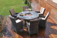 L.A. 6 Seat Round Dining Set With Ice Bucket