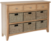 Rosie Oak 3 Drawer Unit With 6 Wicker Baskets