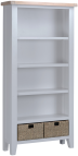 Pippa Painted Large Bookcase With Lime- Washed Oak Top- Grey