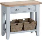 Pippa Painted Console Table With Baskets And Lime- Washed Oak Top- Grey