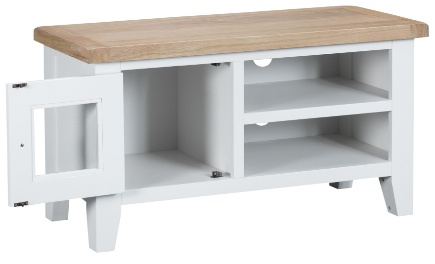 Pippa Grey/ White Painted Standard TV Unit With Lime- Washed Oak Top