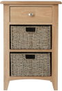 Rosie Oak 1 Drawer Unit With 2 Wicker Baskets