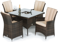 Windsor 4 Seat Square Dining Set With Ice Bucket