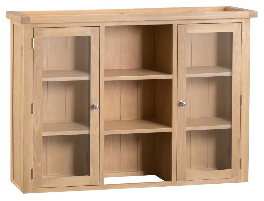 Oak Large Dresser Top With Glass Doors