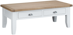 Pippa Painted Large Coffee Table With Lime- Washed Oak Top- White
