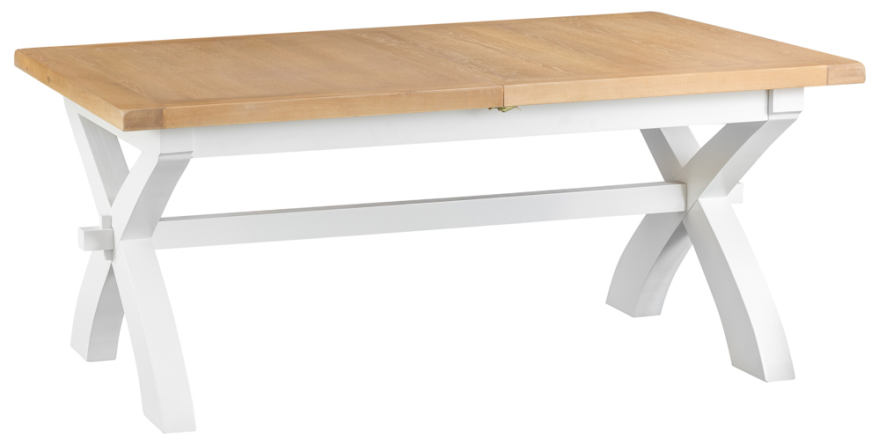 Pippa Grey/ White Painted 1.8 Cross Butterfly Extending Table With Lime- Washed Oak Top