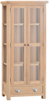 Belle Lime- Washed Oak Display Cabinet With Glass Doors