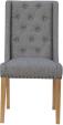 Button Back Studded Chair- Light Grey