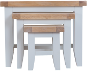 Pippa Painted Nest Of 3 Tables With Lime- Washed Oak Top- White