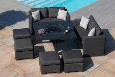 Fuzion Cube Sofa Set With Firepit Table- Charcoal