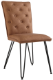 Studded Back Chair With Hairpin Legs- Tan
