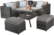 Manhattan Compact Corner Dining Set With High Table- Grey