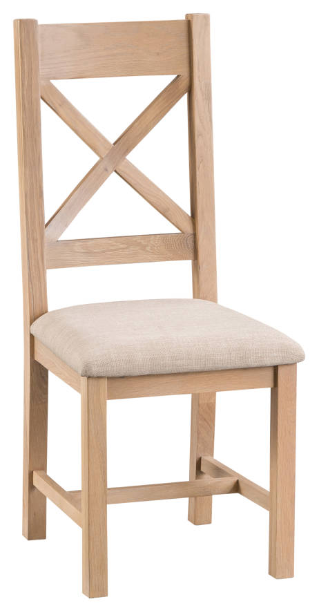 Belle Lime- Washed Oak Cross Back Chair Fabric Seat