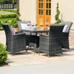 L.A. 4 Seat Square Dining Set With Ice Bucket- Grey/ Brown