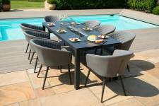 Ambition 8 Seater Set With Fire Pit Dining Table- Flanelle