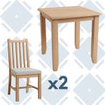 Rosie Oak Fixed Top Table With x2 Oak Frame Chairs
