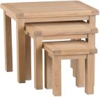 Belle Lime- Washed Oak Nest Of 3 Tables