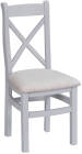 Cross Back Chair Fabric Seat- White