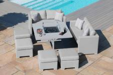 Fuzion Cube Sofa Set With Firepit Table- Lead Chine