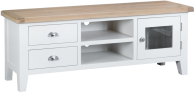 Pippa Grey/ White Painted Large TV Unit With Lime- Washed Oak Top