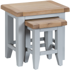 Pippa Painted Nest Of 2 Tables With Lime- Washed Oak Top- Grey