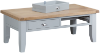 Pippa Grey/ White Painted Large Coffee Table With Lime- Washed Oak Top