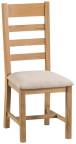Belle  Oak Ladder Back Chair Fabric Seat
