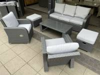 Madrid 3 Seat Sofa Set With Reclining Armchairs And Stools- Grey