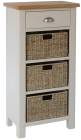 Isabella Painted 1 Drawer Unit With 3 Wicker Baskets
