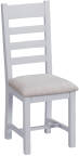Ladder Back Chair Fabric Seat- Grey