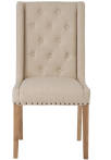 Button Back Studded Dining Chair Beige