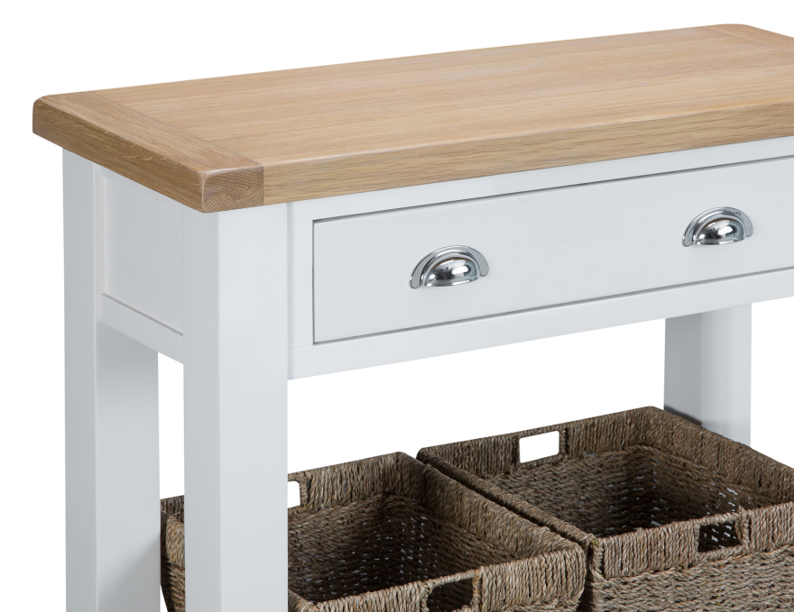 Pippa Grey/ White Painted Console Table With Baskets And Lime- Washed Oak Top