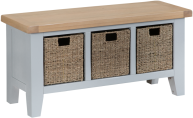 Pippa Painted Hall Bench With Baskets And Lime- Washed Oak Top- Grey