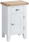 Pippa Painted Small Cupboard With Lime- Washed Oak Top- White